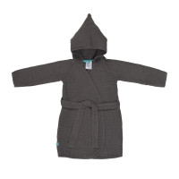 Kinder Bademantel aus Mull - Muslin Bathrobe, Anthracite
