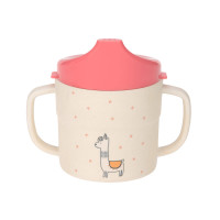 Trinklernbecher mit Bambus - Sippy Cup, Glama Lama Coral