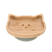 Bambus-Holz Kinderteller mit Saugnapf - Platter, Little Chums Cat