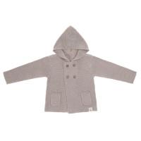 Baby Jacke - Knitted Hoodie GOTS, Garden Explorer Grey