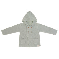 Baby Jacke - Knitted Hoodie GOTS, Garden Explorer Aqua Grey