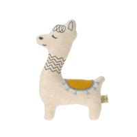 Kuscheltier mit Rassel - Knitted Toy, Glama Lama Blue