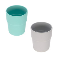 Kinderbecher Bambus Set (2 Stk) - Bamboo Mug, Turquoise - Grey